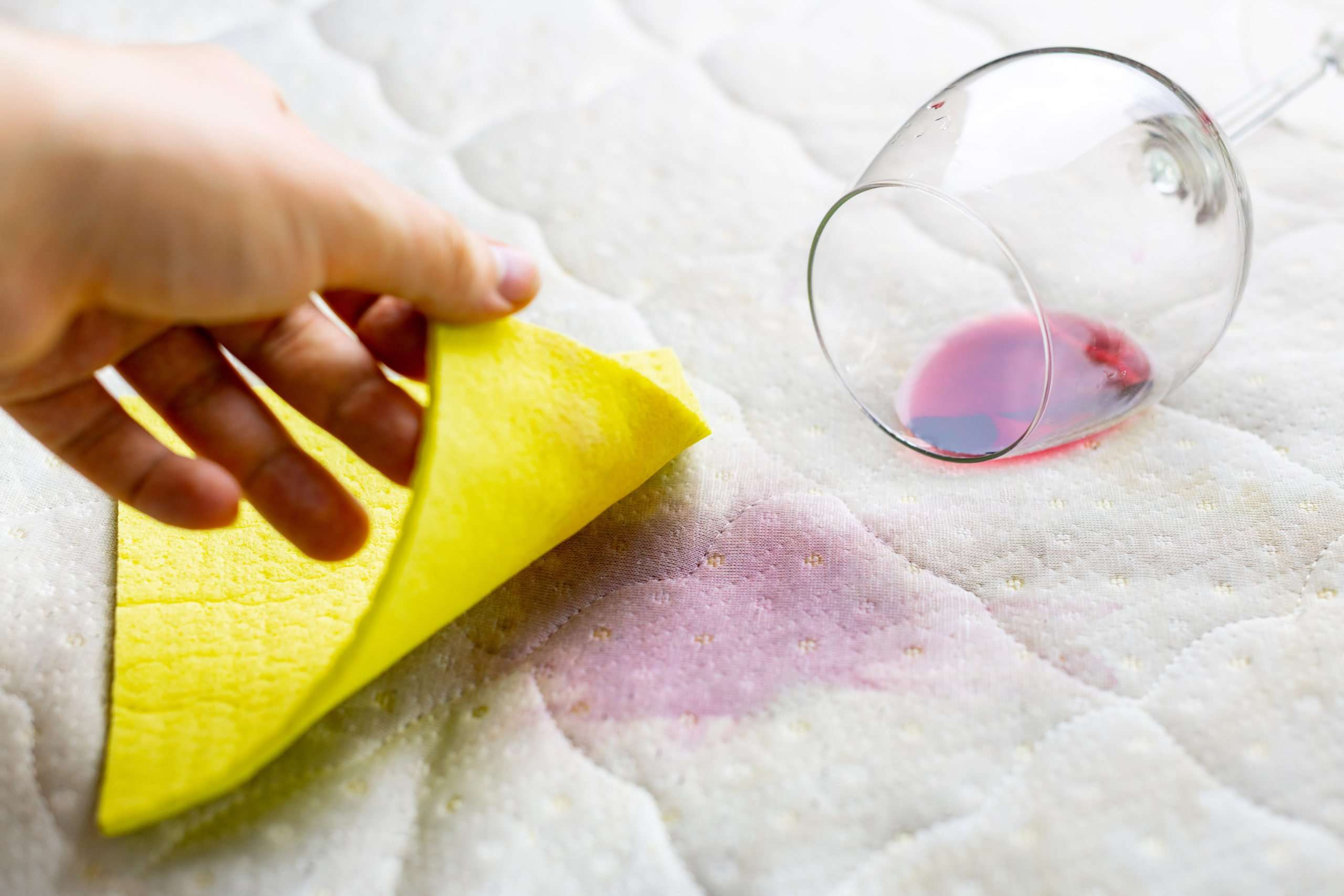 How to get wine stains out of a foam mattress